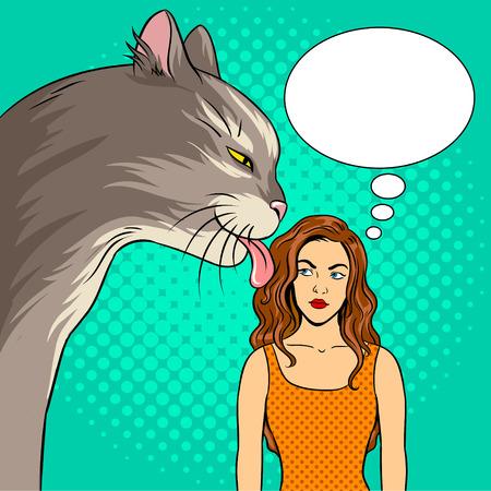 猫は舐める女の子ポップアートのレトロなベクター イラストです。巨大なペット。コミック スタイルの模倣。