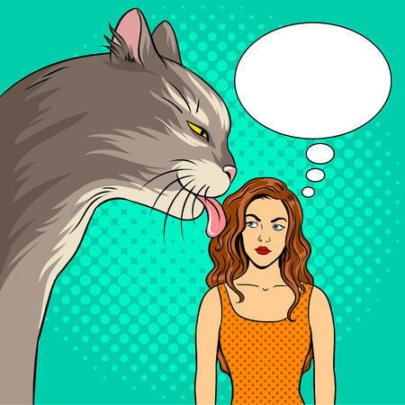 Cat licks the girl pop art retro vector illustration. Huge pet. Comic book style imitation.