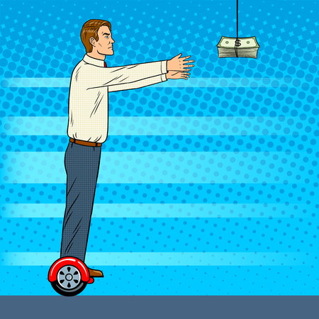 Man on gyroboard chase money pop art retro vector illustration. Modern gadget electric transport. Comic book style imitation.