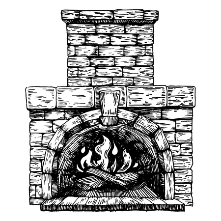 Fire in the fireplace engraving vector illustration. Scratch board style imitation. Hand drawn image.