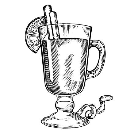 ホットワイン ベクター イラストを彫刻します。スクラッチ ボード スタイルの模倣。手描きイメージ。  イラスト・ベクター素材