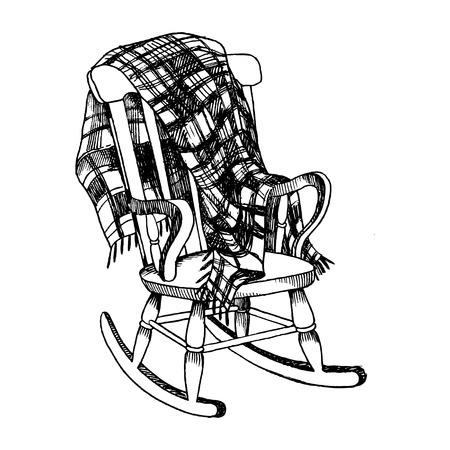 ロッキングチェアと格子縞の毛布彫刻ベクトル イラスト。スクラッチ ボード スタイルの模倣。手描きイメージ。