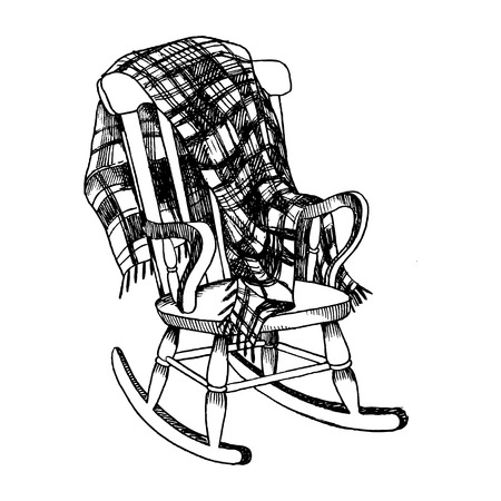 Rocking chair and plaid blanket engraving vector illustration. Scratch board style imitation. Hand drawn image.