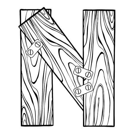 Houten letter N gravure vectorillustratie. Lettertype kunst. Krasplankstijl imitatie. Hand getrokken afbeelding.