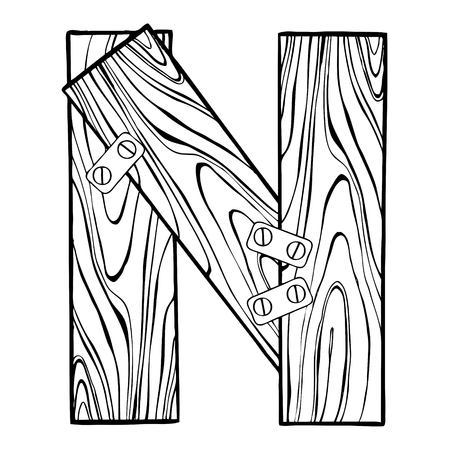 Wooden letter N engraving vector illustration. Font art. Scratch board style imitation. Hand drawn image.