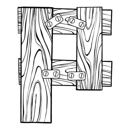 Wooden letter P engraving vector illustration. Font art. Scratch board style imitation. Hand drawn image. Ilustração