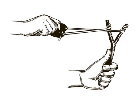 Arma de la catapulta en manos que graba el ejemplo del vector. Incrustación estilo scratch board. Imagen dibujada a mano