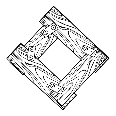 Lettre en bois O illustration vectorielle de gravure. Font l'art. Imitation de style Scratch board. Image dessinée à la main. Banque d'images - 88557641