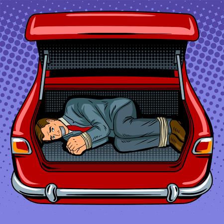 Kidnapped man in the car trunk pop art retro  illustration.