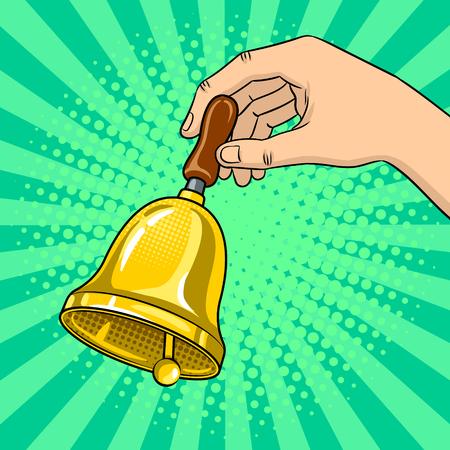 Hand bell ringing in pop art retro illustration. Illustration