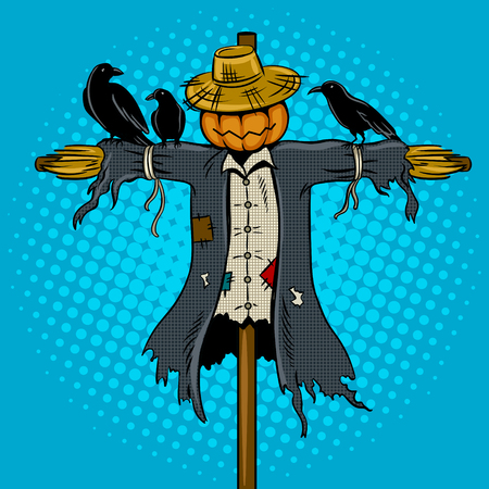 Scarecrow pop art retro vector illustration. Comic book style imitation.