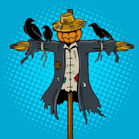 Vogelverschrikker popart retro vectorillustratie. Comic book stijl imitatie. Stock Illustratie