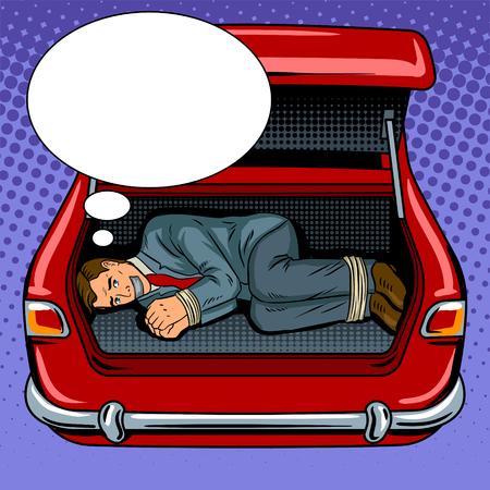 Kidnapped man in the car trunk pop art retro illustration. Illustration