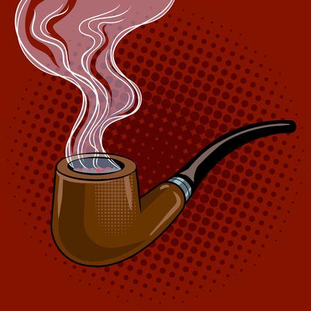 smoldering: Smoking pipe pop art retro vector illustration. Comic book style imitation.