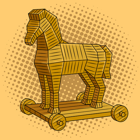 Illustrazione di vettore di arte di schiocco di cavallo di Troia retro. Imitazione di stile di fumetti. Vettoriali