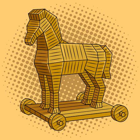 Trojan horse pop art retro vector illustration. Comic book style imitation.