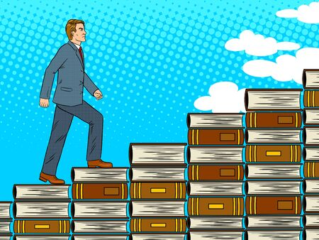 Man is walking up the stairs made from books pop art retro vector illustration. Education metaphor. Comic book style imitation.