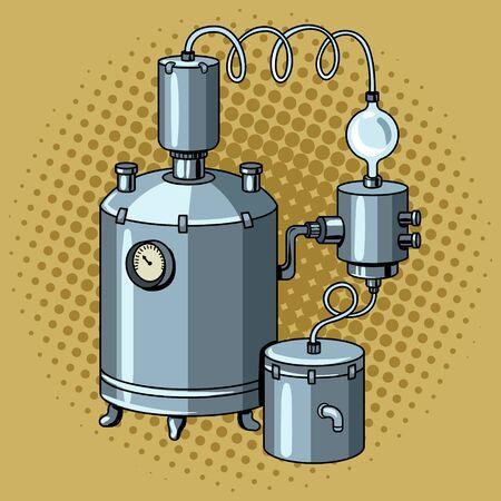 Alcohol machine popart vectorillustratie Stock Illustratie
