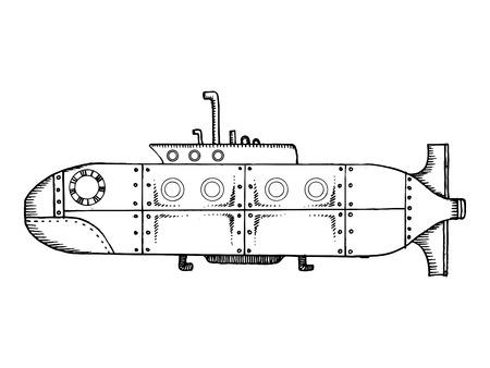 Old submarine pop art vector illustration