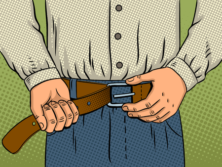 Man lost weight and tries to fasten the belt on his trousers pop art retro vector illustration. Loosing weight metaphor. Comic book style imitation. Stock Photo