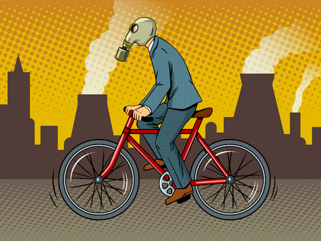 Man in a gas mask rides a bicycle around the city with a bad ecology pop art retro vector illustration. Comic book style imitation.