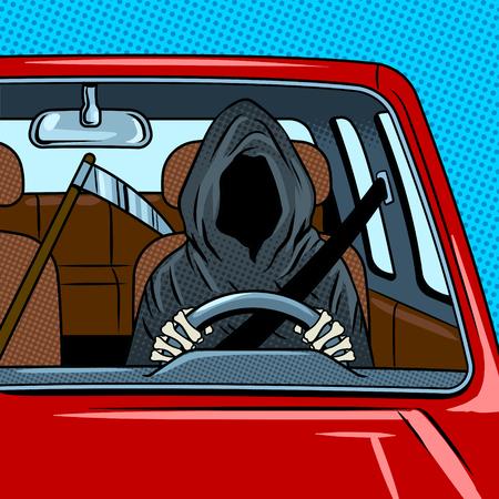 Grim reaper drive car pop art retro vector illustration. Death metaphor. Comic book style imitation.