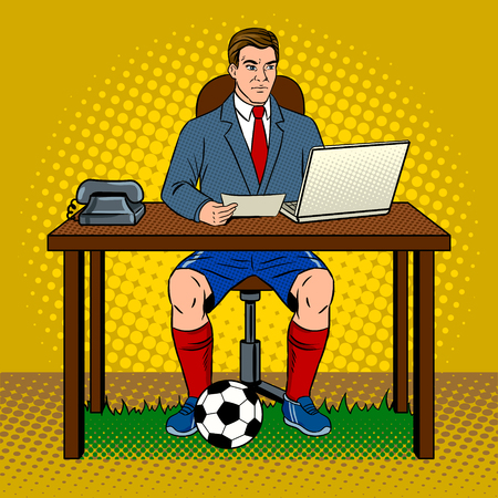 Werkende man in een stijl van een voetbalspeler. Stock Illustratie