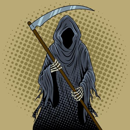 死神ポップアートのレトロなイラスト。
