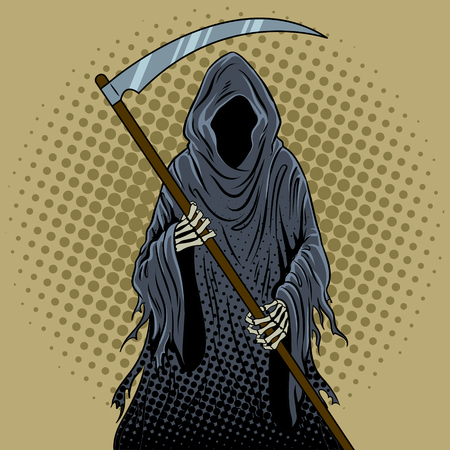 Grim reaper pop art retro  illustration.