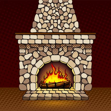 Fireplace at home pop art vector illustration