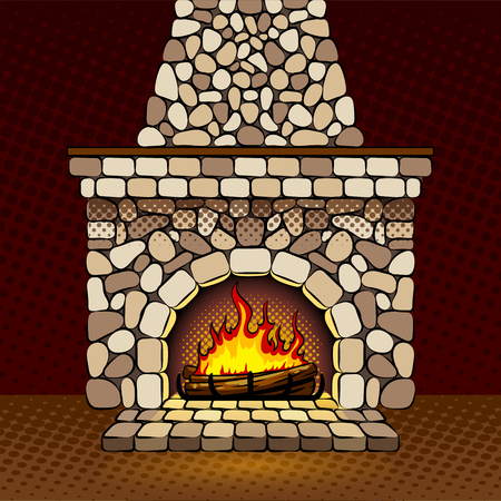Fireplace at home pop art vector illustration
