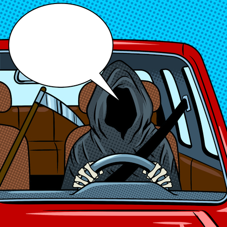Grim reaper drive car pop art retro vector illustration. Death metaphor. Comic book style imitation.