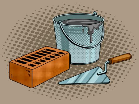 Mortier baksteen troffel pop art retro vectorillustratie. Comic book stijl imitatie.