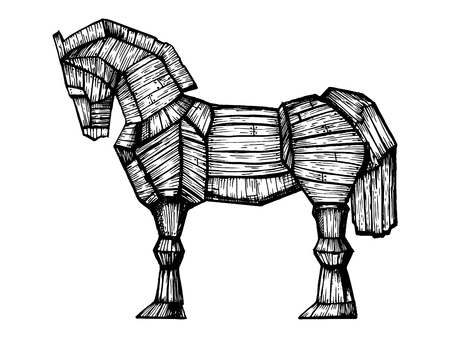 Trojan horse engraving vector illustration. Horse wooden figure. Scratch board style imitation. Hand drawn image.