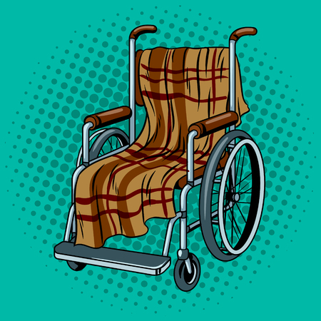Wheelchair with plaid pop art illustration.