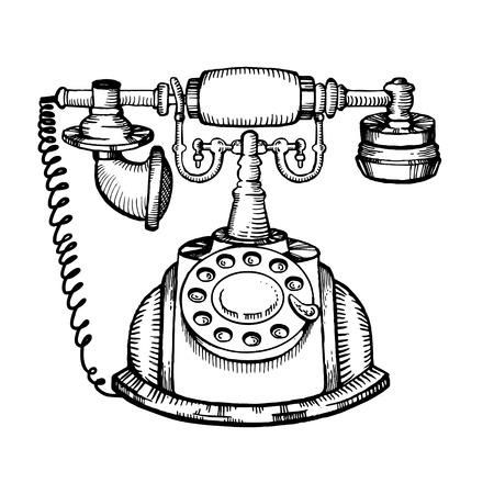 Vintage phone engraving vector illustration