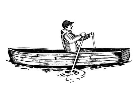 Man op roeiboot gravure vectorillustratie Stockfoto