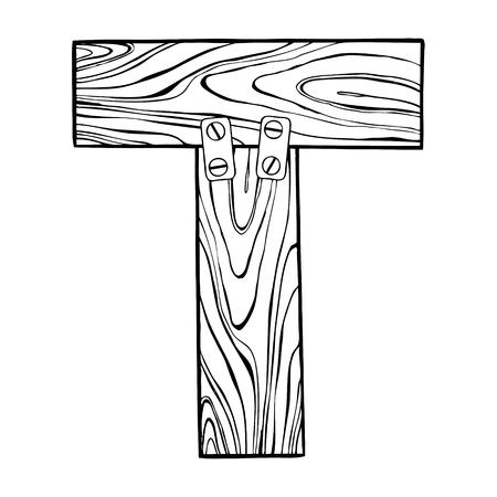 Illustration vectorielle en bois lettre T gravure Banque d'images - 89709370