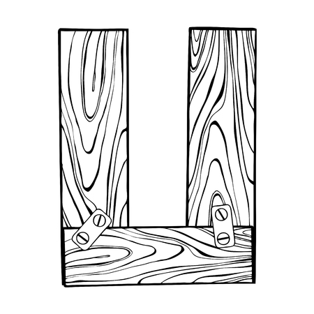 Wooden letter U engraving vector illustration Ilustração