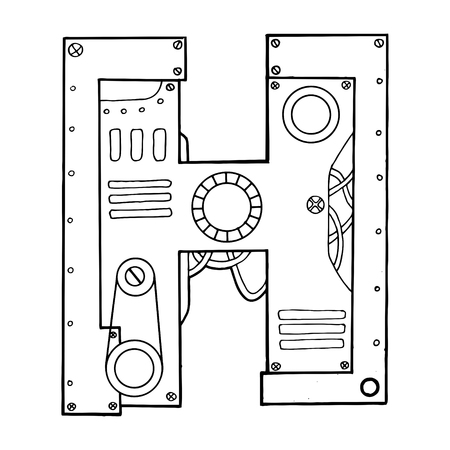 Mechanical letter H engraving vector illustration Stock fotó - 89709372