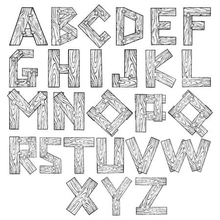 Houten alfabet gravure vectorillustratie