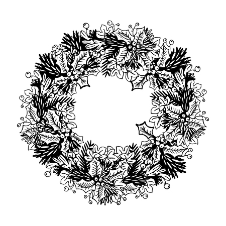 Christmas wreath engraving vector illustration 版權商用圖片