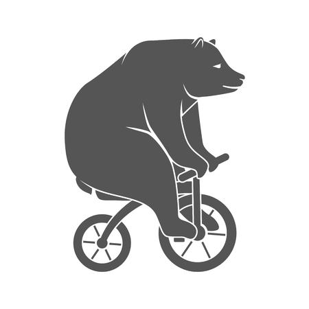 Bear on bicycle minimalistic vector illustration Stok Fotoğraf - 89698433