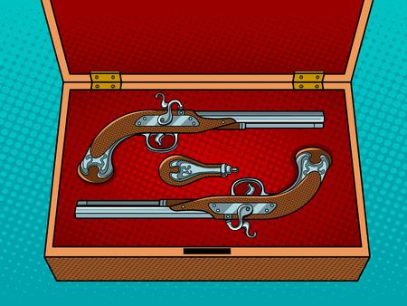 Vintage pistols pop art vector illustration