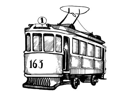 Vintage tram engraving vector illustration