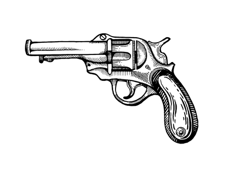 Vintage revolver pop art vector illustration Фото со стока