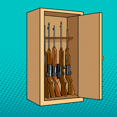 Cabinet with guns pop art vector illustration