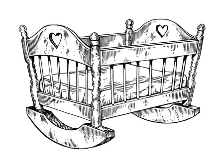 Baby cradle engraving vector illustration