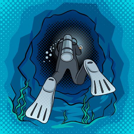 Duiker duikt in de grot popart vector