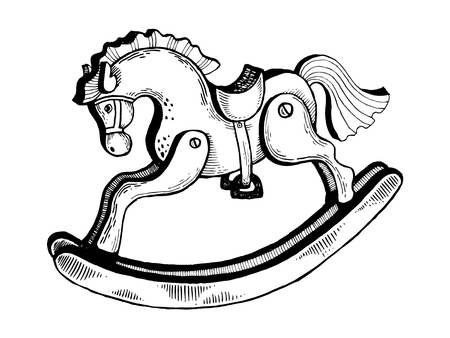 Rocking horse toy engraving vector illustration